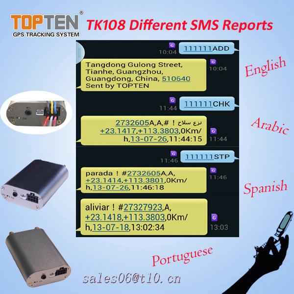 Mini gps tracker tk108 per auto, camion e la gestione della flotta, applicazione di monitoraggio, passare ce.
