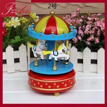 Presente de natal Mini brinquedo de madeira caixa de música do carrossel