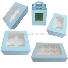 NEW Clear Window Cupcake Boxes Blue For 1/ 2/ 4/ 6/ 12 Cakes With Removable Insert Pink