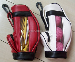 Leather mini golf bag golf ball and tee holder