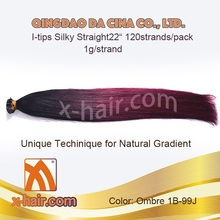 """100% Virgin Chinese Remy Human Hair Straight22"""" 1g/strand Ombre Color: #1B-99J pre-bonded Balayage extensions"""