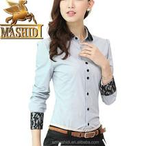 Autumn shirt female long sleeve lace stitching clothing overalls professional attire slim type blouse