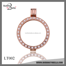 2015 New Necklace/Pendant/Keeper/Locket Old rose gold plating pendant Stainless steel with CRYSTAL open locket