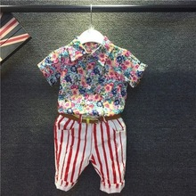 Children's clothing wholesale summer new boys short-sleeved shirt over fashion floral striped pants