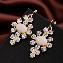 18K Gold Plated Pave Crystals Cross Drop Earrings E1725