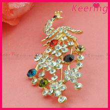 bulk jewelry clear crystal rhinesotne peacock brooch pin WBR-1486