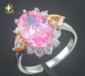 925 prata esterlina opala anel, flor grande pedra rosa anel, venda quente novo opala elegante anel XYR300158