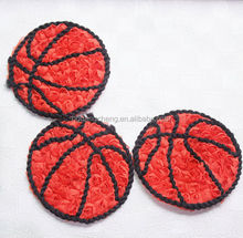 Basketball shaped pink embroidered tulle rosette trim polyester chiffon accessories