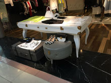 Beautful copper angle MDF clothing show table for lady's dress boutique