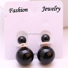 2015 Best Selling Brazil Fashion Purple Big Fake Pearl Earrings