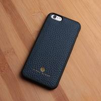 Genuine cow leather unique cell phone cases for iPhone 6/6s blue back cover