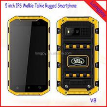 Land Rover V8 PTT Walkie Talkie IP68 Dual Sim GSM 3G Cheap Mobile Phone
