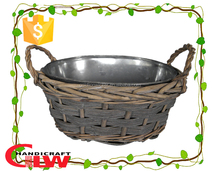 1 piece round split willow flower pot with iron bucket in the basket