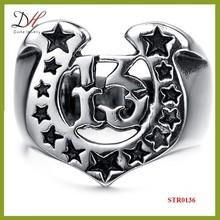 Daihe STR0136 Punk Style Lucky 13 stainless steel men ring