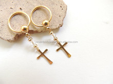 Gold Cross Two Crystals Nipple Ring Nipple Jewelry Body Piercing Cross Jewelry Captive Piercing Jewelry