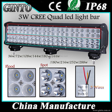 Factory 6063 aluminum housing 3 Functions 4 Rows 144W 12inch Off Road 4 row LED Light Bar