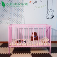 Solid pine baby bed,wooden baby cribs,India simple baby cot