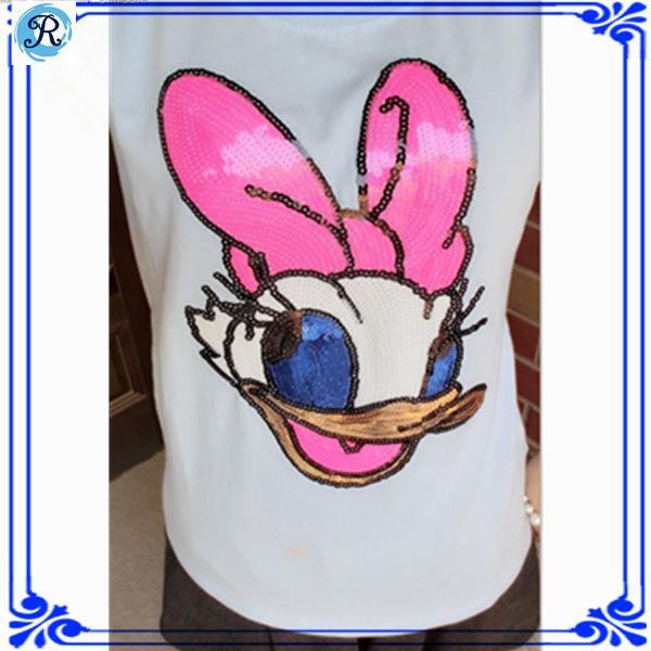 Diseños de bordado con lentejuelas y perlas t- shirt cáscara a granel t- shirt cáscara t- shirt los fabricantes de
