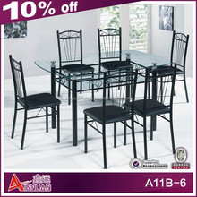 A11B-6 Modern oval glass dining table and chairs from Foshan factory