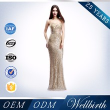 Clothing Factories In China Gold Color Hollywood Evening Dress