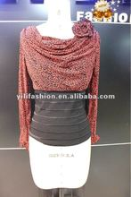 ladies casual elastic waist tops design blouse