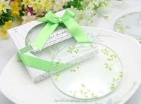 Factory Direct Sales tender grass Clear Round Glass Coasters in bulk
