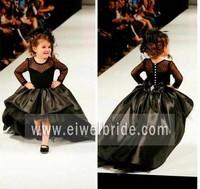 Elegant scoop neck taffeta black long sleeve cocktail dress for children