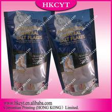 Stand pouch for bath salt/Custom print standing plastic bag for bath salt packing