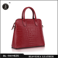 High Quality Solid Patent Crocodile Pure Leather Lady's Handbags