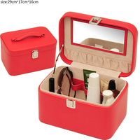top quality pu leather cute cosmetic display cases