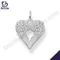 Diseño de corazón belleza ala de hadas collar de plata blanca