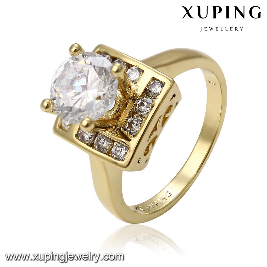 14370 xuping模造ダイヤモンドゴールドリングデザイン用女性価格でインド