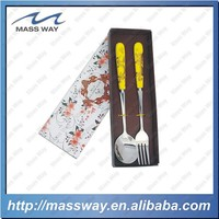 personalized kids yellow ceramic stainless steel spoon and fork