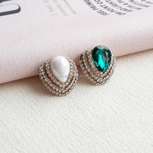 Twinkle drop shape metal glass rhinestone button for garment accessory