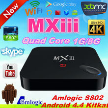xbmc hd quad core android tv box dvb-t 1080p mxiii s802 mx3 android tv box with skype camera