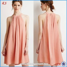2015 New Fashion Round Neck Ladies Smart Loose Waves Crepe Casual Dress Designs Summer Dress