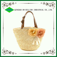 Wholesale decorative lovely woven straw bag corn husk bag with leather handles