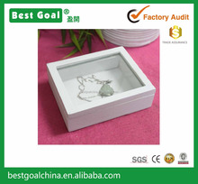 Small size white wooden jewelry box
