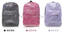 New 2015 3 colors Promotion Silver Hologram Laser Backpack men Bag leather bag Multicolor Silver Business Zipper Backpack women