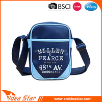 Soft pu blue small size customized one shoulder strap leather phone bags