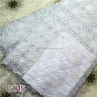 Pure white high quality african chemical lace fabrics 100%polyester different types of fabricG015
