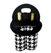 Deluxe Insulated Double Wine/ Water Black Neoprene Tote - Keeps Your Drink Bottles Cool and Secure on the Move