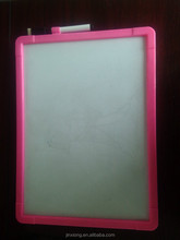 Pink plastic frame white writting board with marker, white board with plastic frame