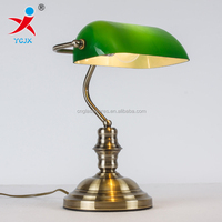 ANTIQUE GREEN GLASS BANK TABLE LAMP