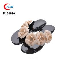 Latest summer ladies flat no heel fancy flower pvc sandal
