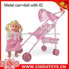 Metal pequeno carro de brinquedo, baby soft toy carro com boneca