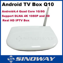 Android 4.4 tv box quad core 1GB/8GB Support Audio Media format Decoder Built-in Wifi Q10 Smart box tv set top box