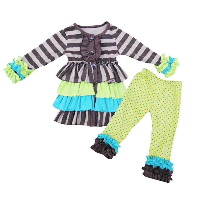 تخصيص طفل فتاة الخريف الملابس الجير منقطة طماق كشكش جاكيتات مجموعات بلد فتاة Aumunt الملابس