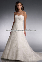 WD2604 Strapless sleeveless sweetheart neckline A-line ruched top white lace up chapel train lace floor length wedding dress