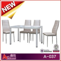 A-037 glass table sets /glass table with leather chairs/ black dining table marble